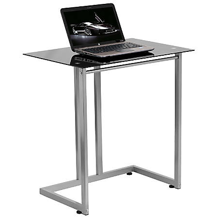 Flash Furniture Tempered-Glass Computer Desk, Black/Clear
