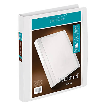 """Office Depot® Brand EverBind™ D-Ring View Binder, 1"""" Rings, White"""