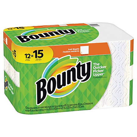 """Bounty 2-Ply Paper Towels, 11"""" x 10-1/4"""", White, Pack Of 12 Large Rolls"""