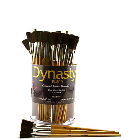 Dynasty Camel Hair Flat Paint Brushes B-300, Assorted Sizes, B-300, Flat Bristle, Camel Hair, Multicolor, Pack Of 72