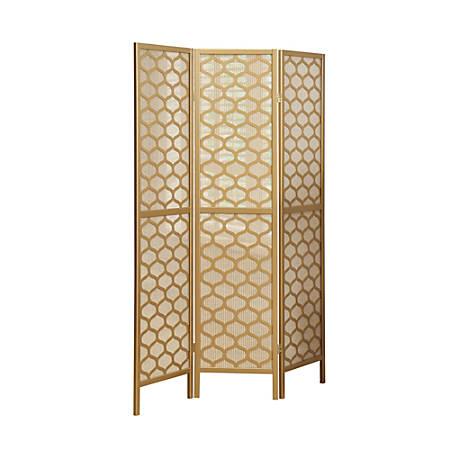 "Monarch Specialties Gael 3-Panel Folding Screen, 70-1/4"" x 52"", Gold Lantern"