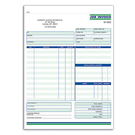 "Custom Forms, Job Invoice, Ruled, 2-Part, 8 1/2"" x 11"", Box Of 250"