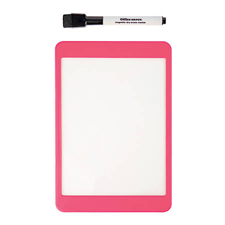 """Office Depot® Brand Magnetic Dry-Erase Tablet With Marker, Plastic, 5 5/16""""H x 7 7/8""""W x 5/16""""D, White, Pink Plastic Frame"""