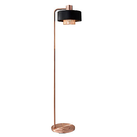 "Adesso® Bradbury Floor Lamp, 60""H, Black/Copper Shade/Copper Base"