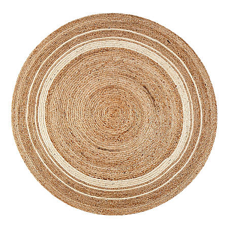 Anji Mountain Kerala Sunrise Jute Rug, 4', Beige/White