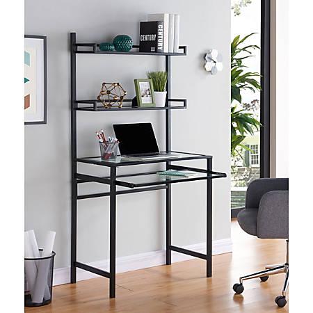Southern Enterprises Brax Metal Glass Small Space Desk With Hutch, Black