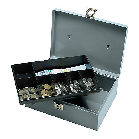 """Sparco All-Steel Latch Lock Cash Box With Tray, 7 Compartments, 4"""" x 11"""" x 7 3/4"""", Gray"""