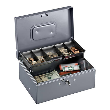 """Sparco Key Lock Controller Cash Box With Tray, 5 Compartments, 3 7/16"""" x 11 7/16"""" x 7 1/2"""", Gray"""