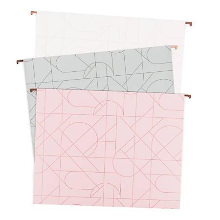 """U Brands Hanging File Folders, Letter Size, 8-1/2"""" x 11"""", Modern + Pretty, Pack Of 12 Folders"""