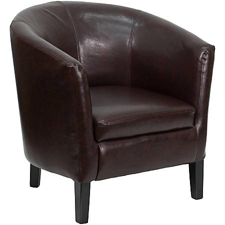 Flash Furniture LeatherSoft Barrel-Shaped Guest Chair, Brown