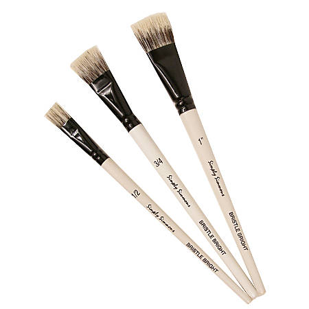 Robert Simmons Simply Simmons Value Paint Brush Set, Bold And Beautiful, Assorted Sizes, Bright Bristle, Syntheitc, White, Set Of 3