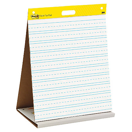 "Post-it® Super Sticky Tabletop Easel Pad, Primary Ruled, 20"" x 23"", White, Pad Of 20 Sheets"