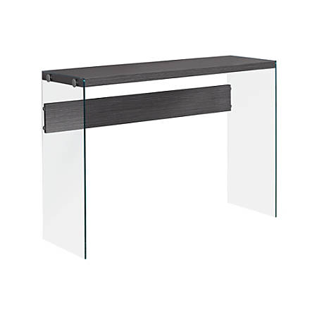 """Monarch Specialties Riley Accent Table, 32""""H x 44""""W x 15-3/4""""D, Gray"""