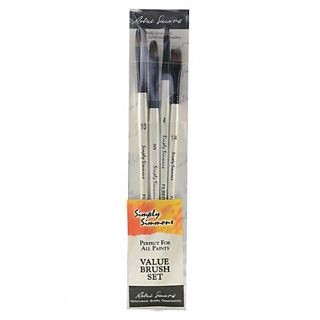 Robert Simmons Simply Simmons Value Paint Brush Set, Fur And Feathers, Assorted Sizes, Assorted Bristles, White, Set Of 4