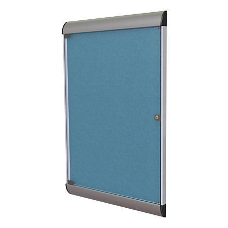 "Ghent Silhouette 1-Door Enclosed Bulletin Board, Vinyl, 42?"" x 27¾"" , Satin & Black Aluminum Frame, Ocean"