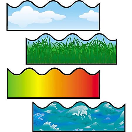Carson-Dellosa Scalloped Border Strips - (Cloud, Grass, Ocean Waves, Rainbow) Shape - Pin-up, Glue - Multicolor - Card Stock - 36 / Pack
