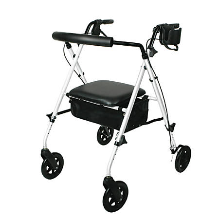 "Guardian Ultralight Rollator, 6"" Wheels, White"