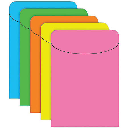 """Top Notch Teacher Products® Brite Pockets, 5 1/2"""" x 3 1/2"""", Assorted Colors, Case Of 500"""
