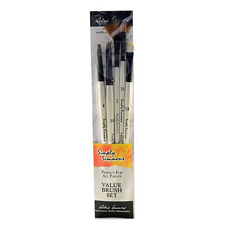 Robert Simmons Simply Simmons Value Paint Brush Set, Tones And Textures, Assorted Sizes, Assorted Bristles, White, Set Of 5