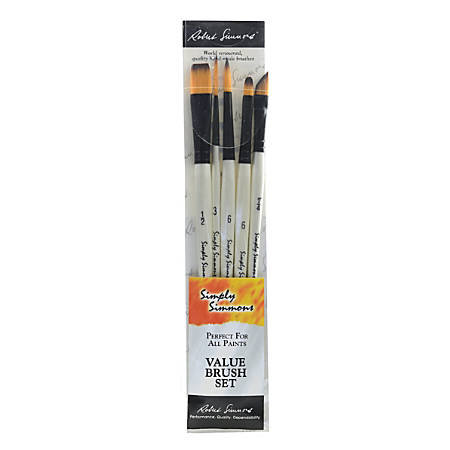 Robert Simmons Simply Simmons Value Paint Brush Set, Assorted Sizes, Assorted Bristles, Synthetic, White, Set Of 5
