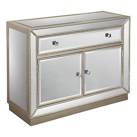 "Coast to Coast 1-Drawer/2-Door Mirrored Cabinet, Champagne, 32""H x 40""W x 15-1/2""D"