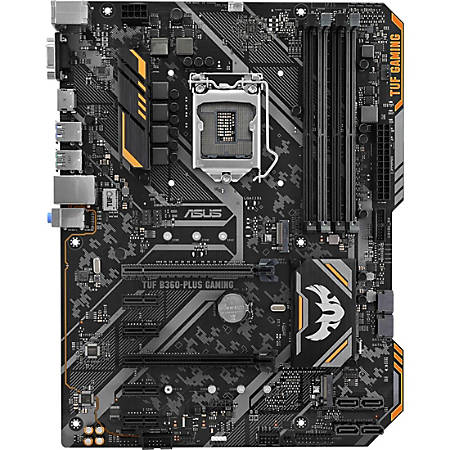 TUF B360-PLUS GAMING Desktop Motherboard - Intel Chipset - Socket H4 LGA-1151 - 64 GB DDR4 SDRAM Maximum RAM - DIMM, UDIMM - 4 x Memory Slots - Gigabit Ethernet - 4 x USB 3.1 Port - HDMI - 6 x SATA Interfaces