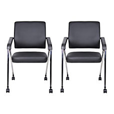 Boss Office Products Nesting Chairs BlackChrome