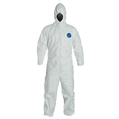 DuPont™ Tyvek® 400 Coveralls With Attached Hood, Medium, White, Pack Of 25 Coveralls