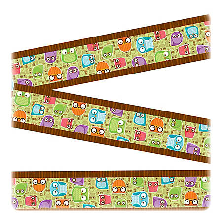 "Carson-Dellosa Colorful Owls Design Straight Borders - (Owl) Shape - 3"" Width x 36"" Length - Assorted - 12 / Pack"