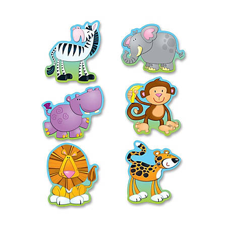 "Carson-Dellosa Jungle Cut-outs Bulletin Board Set - 36 (Jungle Animal) Shape - 0.44"" Height x 6"" Width x 8"" Length - Multicolor - 36 / Pack"