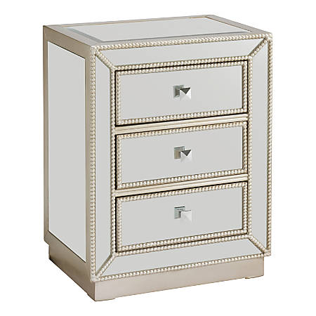 """Coast to Coast Elsinore 3-Drawer Chest, 26""""H x 20""""W x 15""""D, Champagne"""
