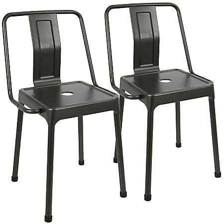 LumiSource Energy Chairs, Carbon Black/Carbon Black, Set Of 2