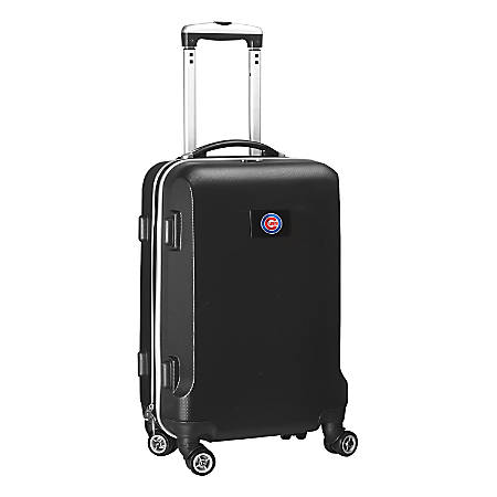 "Denco 2-In-1 Hard Case Rolling Carry-On Luggage, 21""H x 13""W x 9""D, Chicago Cubs, Black"