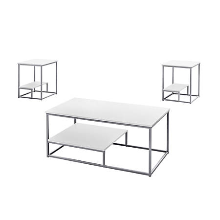 "Monarch Specialties Coffee Table With Two 18""W Square End Tables, White/Silver"