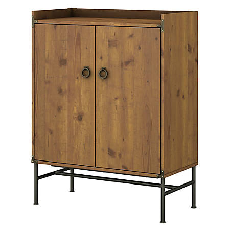 Kathy Ireland Home By Bush Furniture Ironworks Storage Cabinet With Doors Vintage Golden Pine