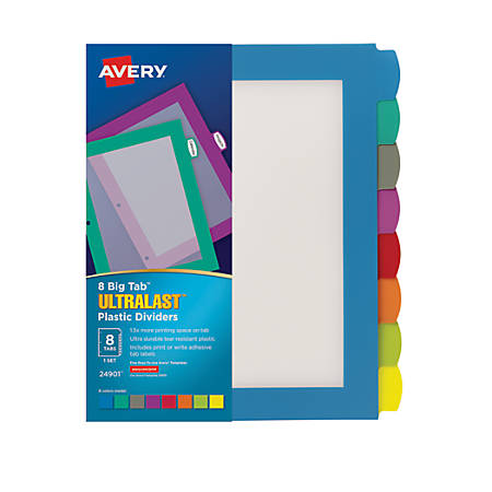 Avery big tab ultralast plastic dividers 8 tab multicolor for Office depot divider templates