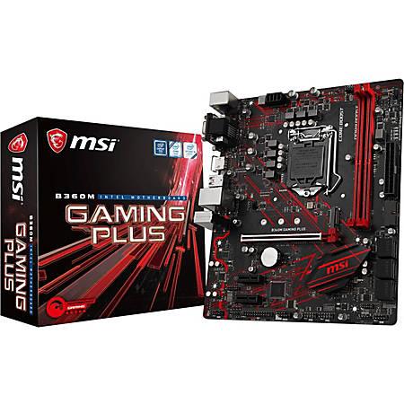 MSI B360M GAMING PLUS Desktop Motherboard - Intel Chipset - Socket H4 LGA-1151 - 32 GB DDR4 SDRAM Maximum RAM - DIMM, UDIMM - 2 x Memory Slots - Gigabit Ethernet - 4 x USB 3.1 Port - HDMI - DVI - 6 x SATA Interfaces