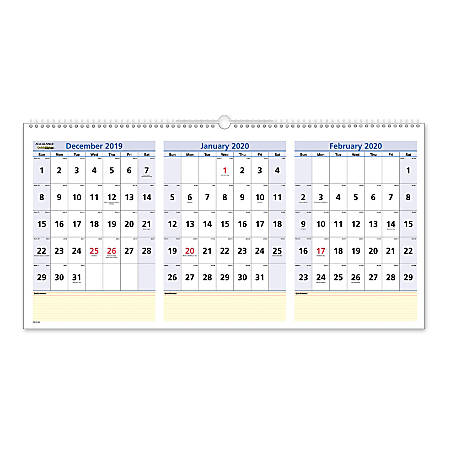"""AT-A-GLANCE® QuickNotes® 15-Month Wall Calendar, 24"""" x 12"""", December 2019 To February 2021, PM1528"""
