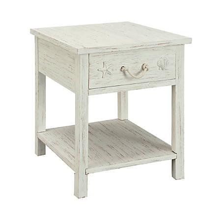 Coast to Coast Sanibel 1-Drawer End Table, White Rub