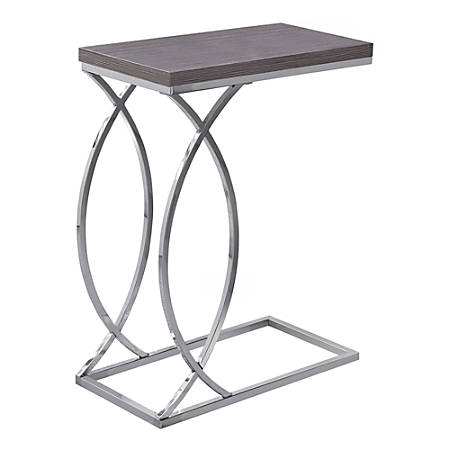 Monarch Specialties Side Accent Table, Rectangular, Gray/Chrome