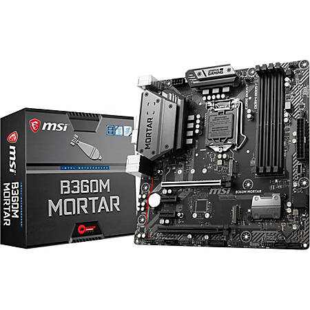 MSI B360M MORTAR Desktop Motherboard - Intel Chipset - Socket H4 LGA-1151 - 64 GB DDR4 SDRAM Maximum RAM - DIMM, UDIMM - 4 x Memory Slots - Gigabit Ethernet - 2 x USB 3.1 Port - HDMI - DVI - 4 x SATA Interfaces