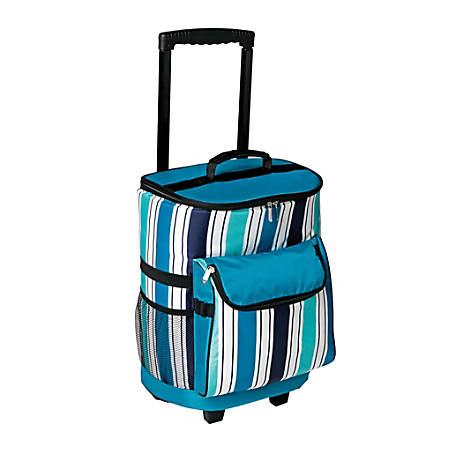 "Orbit Rolling 36-Can Cooler, 38 1/2""H x 12""W x 9""D, Blue Striped"