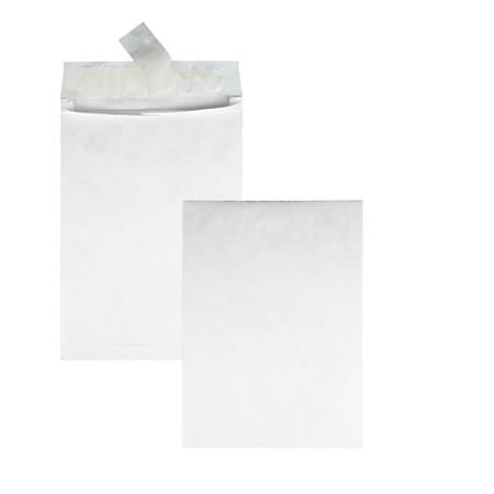 "Quality Park® Tyvek® Expansion Envelopes, 10"" x 13"" x 1 1/2"", 14 Lb, White, Carton Of 100"