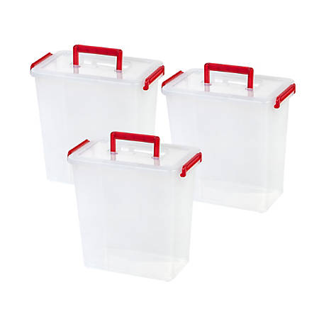 """Iris Holiday Bow Storage Boxes With Handle, 11-3/4"""" x 7-1/8"""" x 11-9/16"""", Red, Pack Of 3 Boxes"""