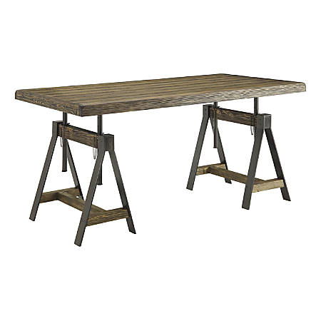 Coast to Coast Adjustable Dining Table/Desk, Camden Distressed Brown