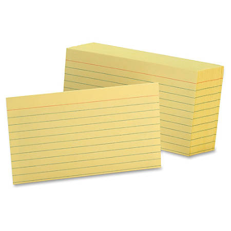 "Oxford Colored Ruled Index Cards - 100 Sheets - Front Ruling Surface - 5"" x 8"" - Canary Paper - Durable - Recycled - 100 / Pack"