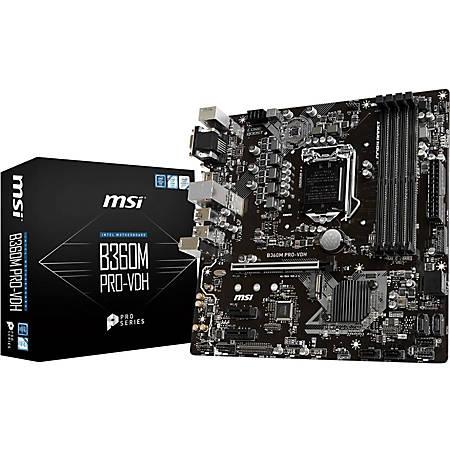 MSI B360M PRO-VDH Desktop Motherboard - Intel Chipset - Socket H4 LGA-1151 - 64 GB DDR4 SDRAM Maximum RAM - DIMM, UDIMM - 4 x Memory Slots - Gigabit Ethernet - 4 x USB 3.1 Port - HDMI - DVI - 6 x SATA Interfaces