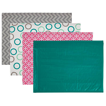 """Office Depot® Poly Fashion Bubble Mailer, #5, 10 1/2"""" x 15"""", Assorted Colors"""