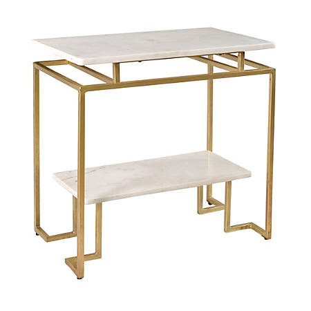 Coast to Coast Marble Accent Table, White
