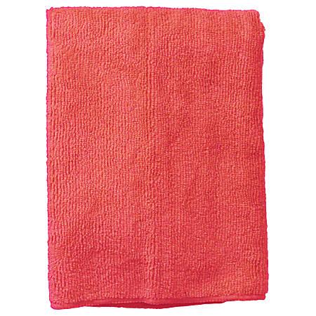 "Wilen Standard Duty Microfiber Cloths, 16"", Red, Pack Of 12"